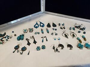 Turquoise Ear Rings- Lot of 23, 7 Sterling Silver 170gram