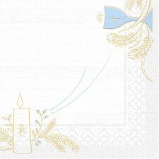 Tissue Serviette Kommunion/Konfirmation Holz in Blau-Grau, 33 x 33 cm, 100 Stück