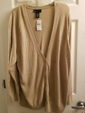 NEW Lane Bryant Womans Plus Sweater Cardigan 26/28 - Beige with gold metallic