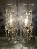 PAIR MOST GORGEOUS BOHEMIAN CRYSTAL GLASS HURRICANE LUSTERS LAMPS SPEAR PRISMS