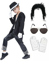 Boys Michael Jackson Bad Black 80 90s Fancy Dress Costume Wig Glasses Gloves Hat