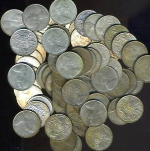 50 x Australian 1966 Round Fifty Cent Coins - 80% Silver