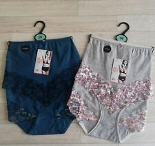 M&S lingerie size 26 Midi style pants knickers  2 pairs green /pink floral BNWT