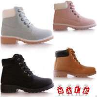 KIDS GIRLS GRIP SOLE WINTER WARM LACE UP ANKLE BOOTS TRAINERS SHOES SIZE 10-6
