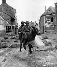 WWII Photo US Soldiers 1st Infantry Div. on Donkey June 1944  WW2 B&W / 1313