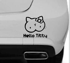 Hello titty kitty autocollant drôle rude van voiture fenêtre pare-choc autocollant vinyle graphique