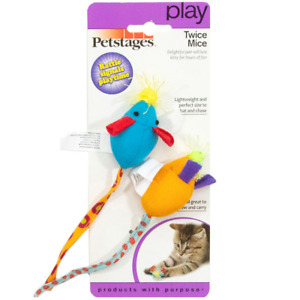 Petstages  Rattling Small Catnip Cat Toy Kitten Toys Twice Mice Mouse - 2 Pack