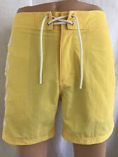New Lacoste Mens Premium Surf Swim Trunks Board Shorts, Yellow Logo, Size S