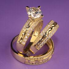 Bride Groom 14k Yellow Gold Diamond Cluster Trio Bridal Ring Set