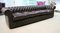 CHESTERFIELD TUFTED BUTTONED 5 SEATER SOFA GRANDE REAL VINTAGE BROWN LEATHER DBB