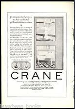 1924 CRANE Company advertisement, pedestal sink, kitchen sink/laundry tub