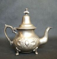 Antique Vintage French Style Embossed Silver Teapot Stamped Underneath