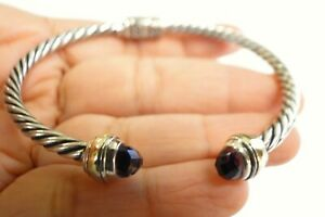 Amethyst 18K Gold Accent 925 Sterling Silver Cuff Bangle Bracelet