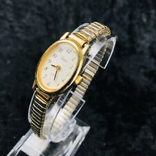 Ladies Timex Quartz Gold Tone Dress Bracelet Watch Expandable Strap New Battery