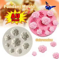 3D ROSE FLOWER Silicone Fondant Cake Mold Plant Leaf Chocolate Baking Mould EA