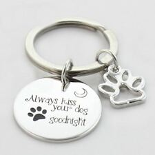 *UK* 925 SILVER PLT 'ALWAYS KISS YOUR DOG GOODNIGHT' ENGRAVED KEYRING PET LOVE
