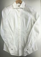 Women's NWT Size Medium Replay White Stretch Cotton Shirt With Popper Cuffs