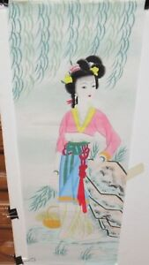 LARGE JAPANESE GEISHA GIRL IN PINK WATERCOLOR ON PAPER PAINTING UNSIGNED