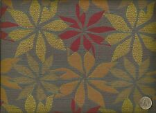 Crypton® Modern Retro Fall Flowers Orange Yellow Fuschia Blue Upholstery Fabric