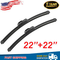 "22"" & 22"" Premium Hybrid silicone Windshield Wiper Blades High Quality J-Hook US"