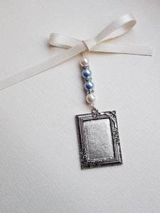 Wedding Bouquet Charm Oblong Antique Silver Locket, ivory & pale blue pearls
