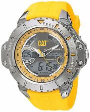 CAT WATCHES Mens Anadigit Quartz Stainless Steel and Rubber Casual, Color:Yellow