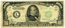 Genuine 1934 A US $1000 Federal Reserve Note San Francisco District | F/VF Cond.