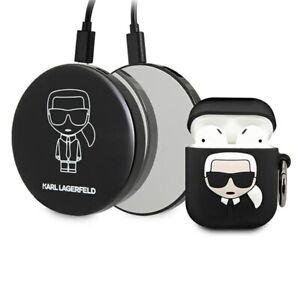 Karl Lagerfeld Silikon Cover für Apple AirPods Schwarz inkl. Powerbank Set Case