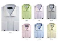 Men's Cotton Blend French Cuff Jacquard Stripe Dress Shirt #30