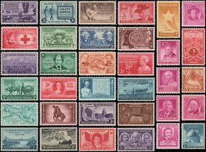 US #953-986 MNH 1948-1949 commemorative year set of 34 stamps