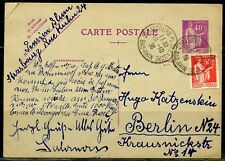 FRANCE 1938 STRASSBORG POSTCARD TO  BERLIN GERMANY