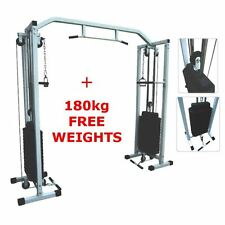 BodyRip CABLE CROSSOVER TRAINING MACHINE CAGE + 180KG WEIGHTS FITNESS HOME GYM