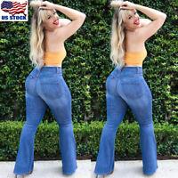 Womens Flare Denim Jeans Bell Bottom Wide Leg Pants Hippie Trousers Plus Size US