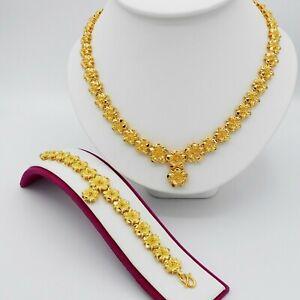 Set Flower Thai Baht Yellow Gold Plated Women Necklace Pendant&Bracelet Jewelry
