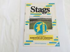 Mansfield Town v Sheffield United  FA Cup  November  1988