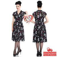 Hell Bunny Belleville 40s 50s Pin Up Black White Red Roses Floral Chiffon Dress