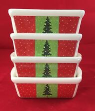 """4 Gibson Holiday  6"""" Mini Loaf Pans Stoneware Christmas Tree Design"""