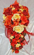 Fall Burgundy Orange Yellow Wedding Bridal Bouquet Cascade Silk Rose Package