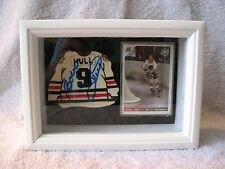 BOBBY HULL SHADOWBOX - WITH AUTOGRAPHED HAND MADE CLAY JERSEY & HOCKEY CARD SET