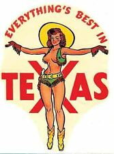 Texas Pin-Up  Girl   TX  1950's  Vintage Looking   Travel Decal Sticker