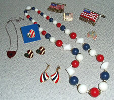 PATRIOTIC JEWELRY LOT Earrings, Necklaces, Pins  RED WHITE & BLUE!