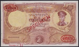 Burma (Myanmar) 50 Kyat 1958 SPECIMEN, UNC-, Pick 50