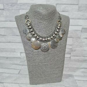 ACCESSORIZE Statement Necklace Silver/Goldtone Metal Coins Costume Jewellery
