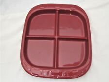 """Longaberger Pottery Woven Tradition Paprika Red 12 1/4""""x10 3/4"""" Divided Dish"""