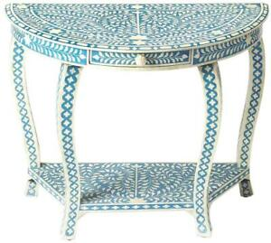 CONSOLE TABLE DEMILUNE BLUE DISTRESSED MERANTI RESIN BONE INLAY INLAID 1