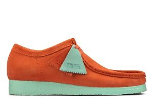 NEW MENS CLARKS ORIGINALS WALLABEE LIMITED EDITION CORAL COMBI SUEDE LOW SHOES