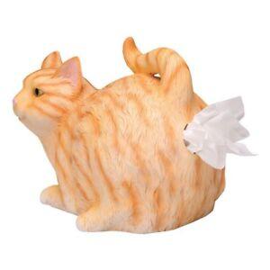 Cat Butt Tissue Holder Orange Tabby Resin Fits Standard Box Fun Gift Gag Home