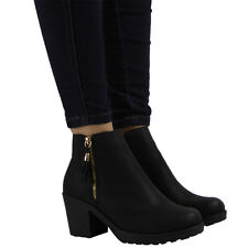 NEW LADIES WOMENS BLACK LOW MID HEEL ZIP PULL ON CHELSEA ANKLE BOOTS SHOES SIZE