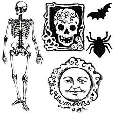 Stamperia Halloween Clear Stamp Skull Skeleton moon cardmaking journal