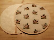 Pair of Aga Hob Covers with Loops Ducks Free P&P